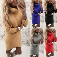 Women Fall Winter Knitted Oversized Sweater Jumper Dress Long Pullover Top UK
