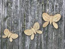 Vintage Wicker Rattan Woven Wall Hanging Butterflies 🦋 Set Of 3 CUTE!