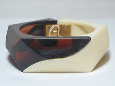"Unusual Retro Clear Root Beer & Cream Lucite Hinged Bracelet 7"" New Old Stock"