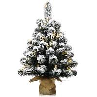 "24"" Pre-Lit Snow Flocked Tabletop Christmas Tree Decor w/ 30 LED Lights & Timer"