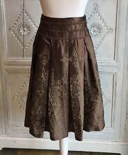 M&S Autograph Full Skirt Baroque Print/Brown Silk Size 12