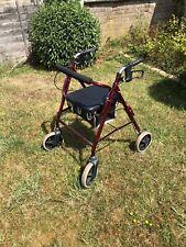 Mobility Trolley Seat Walker Lightweight Folding 4 Wheel Rollator Walking Aid UK