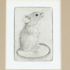 Framed Sheridan Oman Pencil Signed Field Mouse Print, Arizona Artist