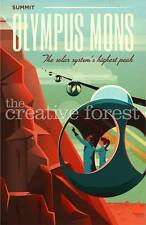 OLYMPUS MONS, Sci-Fi Space Travel Poster Rolled CANVAS ART PRINT 24x36 in.