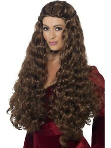 Extra Long Brown Medieval Princess Wig Adult Womens Smiffys Fancy Dress Wig
