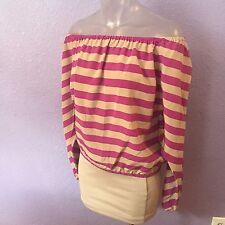 BCBG MAX AZRIA $238 Estella Off Shoulder Stripe Silk Crepe Top M GORGEOUS