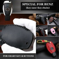 1Pcs Car Auto 2 Buttons Leather Key Case Fob Cover For Mercedes Benz Accessories