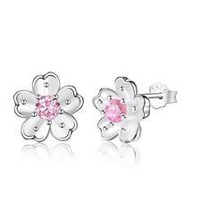 1Ct Pink Sapphire Feminine Flower Stud Earrings In 925 Sterling Silver