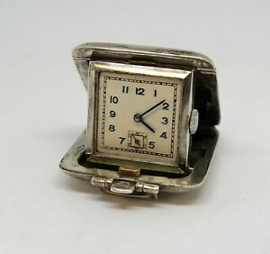 1938 Sterling Silver Travel Clock, Small Size, Running Condition