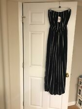 FOREVER 21 NAVY & WHITE STRIPED BANDEAU JUMP SUIT Size SMALL