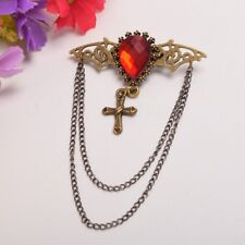 Gothic Wings Cross Brooch Breastpin Vintage Steampunk Red Crystal Breast Pin