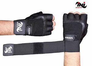 INI Gym Leather Gloves Weight Lifting Body Building Training Fitness Strap S,M,L
