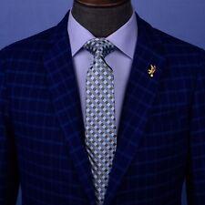 """Blue Grey Jacquard Check Luxury Designer Standard Regular Tie Plaids 3"""" Necktie"""