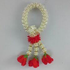 Thai garland plastic& fabric flower for Worship God Buddha Red White Malai decor