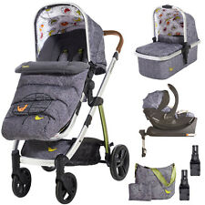 New Cosatto Wow 3 in 1 travel system Dawn Chorus car seat base bag and footmuff