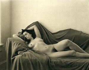Hand made platinum print by Ray Bidegain: Reclined nude
