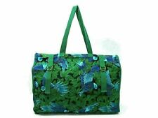 Authentic HERMES Large Tote Bag Cotton Green Multi Color With Pouch Good 84560