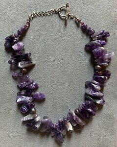 """FAB 16-1/2"""" CHEVRON AMETHYST NECKLACE, LARGE POLISHED BEADS & FW PEARLS"""