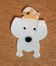 Beautiful Arts Craft Pearlised Lucite Cute White Dog with  Gold Crown Brooch Pin