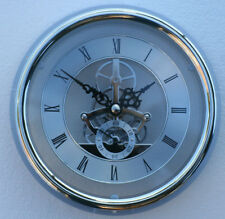 Skeleton Clock 149mm diameter quartz insertion, silver finish with flange fit
