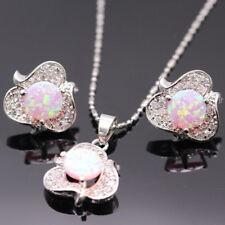Fashion 925 Silver Flower Fire Opal Earrings Ear Stud Necklace Women Jewelry Set