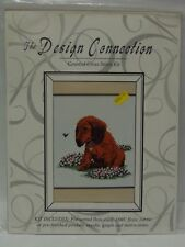 NEW Design Connection Counted Cross Stitch Kit PUPPY DOG FLOWERS FLY Animal Love