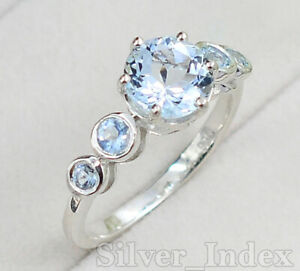 925 Sterling Silver Round Natural Aquamarine Gemstone Anniversary Ring For Women