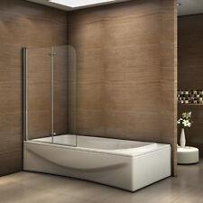 Pare-baignoire à 2 volets 110x140cm porte pliante Paroi de douche Verre sécurité