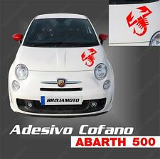 STICKER HOOD LOGO ABARTH SCORPIO RACING FIT FIAT PUNTO 500 ROSSO