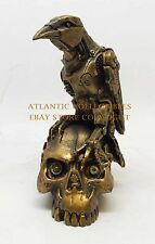 STEAMPUNK ROBOTIC CROW RAVEN RESTING ON SKULL SKELETON SCULPTURE STATUE