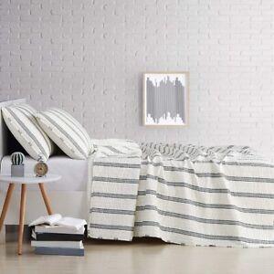 TRULY SOFT EVERYDAY Millenial Stripe Duvet Set White w/ Gray Stripe Twin XL NEW