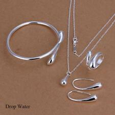 Fashion 925 Sterling Silver Plated Chain Bracelet Earring Necklace Jewelry Sets