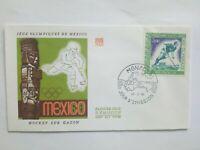 MONACO Timbre 1° jour FDC lettre JO MEXICO 1968 Hockey sur Gazon
