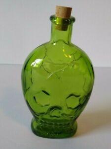 Wheaton Green Skull Skeleton Head Glass Poison Bottle Gothic Horror Halloween 71