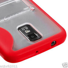 Samsung Galaxy S2 T989 T-Mobile Hybrid Gummy Case w/Stand Cover Clear Red