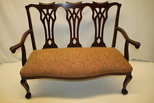 English Chippendale Mahogany Settee loveseat with Claw Foot c.1920s'