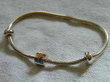 Clogau Argento & 9ct Oro Gallese pietre miliari Bead Bracciale con Charm 19cm RRP £ 219.00