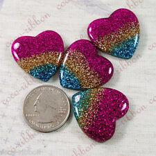 8 Pcs 28mm Glitter Sparkle Rainbow Heart Valentine Flatback Resin Cabochon C14