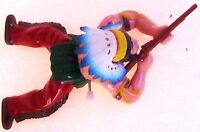 Western Hero Indian & rifle wind up crawling toy 6½x4 with Red Pants WATCH HIM