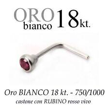 Piercing naso in ORO BIANCO 18kt.con RUBINO rosso vivo