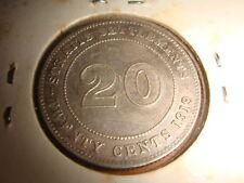 Straits Settlements 1919-B, 20 Cents King George V, Nice Grade EF