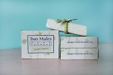 TWO MULES SOAP CO. 4 BAR ALL NATURAL SOAP LOT! PATCHOULI! MINT & MILK! AND MORE