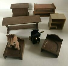 SYLVANIAN FAMILIES BUNDLE BROWN FURNITURE FOR SCHOOL HOUSE DESK JOB LOT VINTAGE