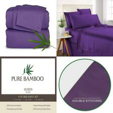 Pure Bamboo Sheets - Queen Size Bed 4-pc Set - 100% Queen, Purple