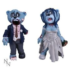 Set of 2 Bad Taste Bears ZOMBIE BRIDE & GROOM Figurines - Collectable Boxed New
