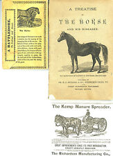 Lot Treatise On Horse And His Diseases Foldout Battledore Card Kemp Manure Ad
