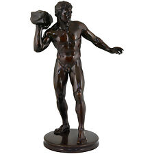 Antiques sculpture of a male nude athlete Georg Kemper, H. 34 inch, Germany 1900
