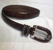 Vintage Italian Embossed Croco Grain Leather Full Grain Leather Lined