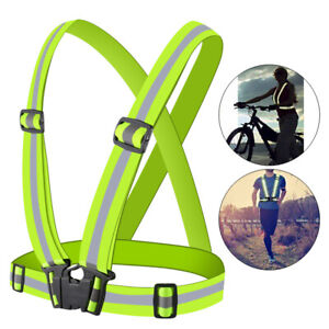 Adjustable Outdoor Sports Cycling Vest Harness Reflective Belt Safety Jacket