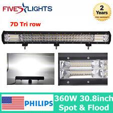 "7D Lens Tri Row 360W 30""Inch FLOOD SPOT LED Work Light Bar Offroad Truck F-SATR"